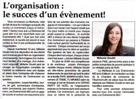 L'organisation : le succès d'un évènement!