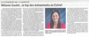 Mélanie Goulet…la top des événements en Estrie!